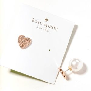 kate spade Yours Truly Pave Heart Pearl Earrings